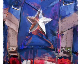 """New Captain America Marvelous Collection Abstract Art Panel, 11x17"""" art print mounted on board"""