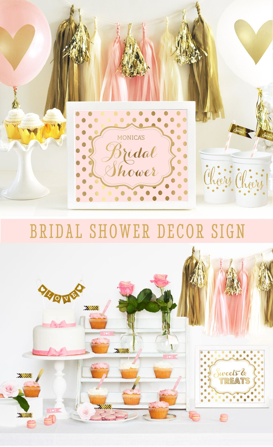Pink Bridal Shower Decor Pink Bridal Shower Decorations Gold