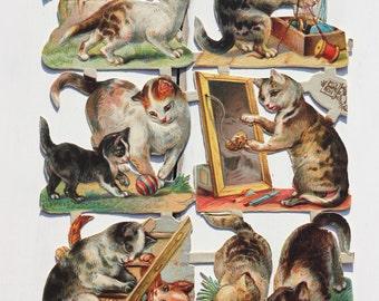 Cats and kittens, Victorian,  die cut scraps, c1880s, Raphael Tuck, vintage illustration, ephemera, scrapbook supply