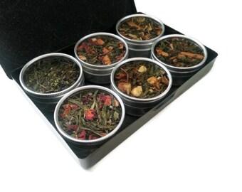 ORGANIC green teas, SALE 15% off, hand blended, for her, tea kit, loose leaf teas, MOM Gift, tea sampler, tea lover, tea bags, gift box