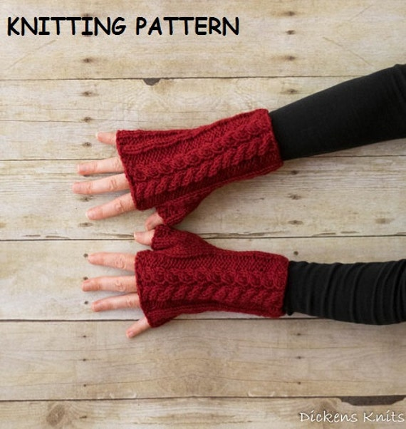 Hobo Gloves Knitting Pattern : PDF KNITTING PATTERN Double Cable Fingerless Mittens