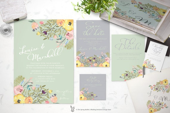 Printable Wedding Invitation Suite - Watercolor floral wedding invitation set - Customizable Wedding Invites - DIY Wedding Invitation Set
