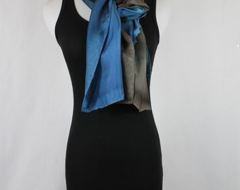 """Hand painted silk scarf 14""""x72"""" Dark brown and blue scarf, OOAK read to ship"""