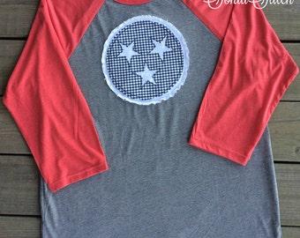 Tennessee Tri-star Baseball Tee - tn applique - Raglan sleeve baseball t-shirt - State shirt - Tennessee Stars