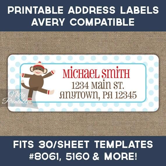 Printable Address Labels Sock Monkey Return Address Label