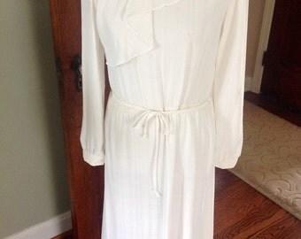 Semi-sheer vintage dress, off-white, feminine, chiffon ruffle,Laine