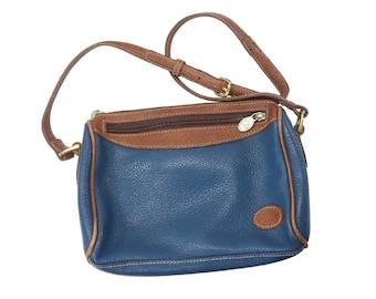 90s Liz Claiborne Purse Vintage Cross Body Shoulder Hand Bag Navy Blue Brown Leather Retro 80s Preppy