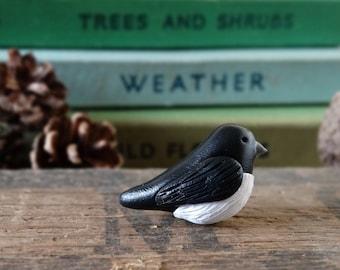 By the Shed Magpie Bird Pin Badge - Lapel Badge - Tie Pin - Garden Birds - Fruit - Allotment - Bird Watching - Garden Gift - Black White
