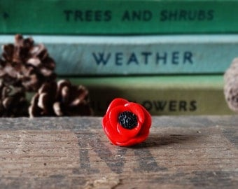 By the Shed Red Poppy Pin Badge - Flowers - Garden - Gardening - Gift - Unique Present - Floral - Lapel Pin, Brooch, Tie Pin