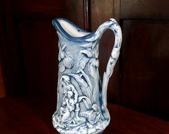 Antique Parian Pitcher 1850, Dark Blue Stippled Background Relief Paul & Virginia Parian Pitcher