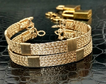 READY to SHIP, Bdsm Submissive Locking Bracelets 'Twisted' 14k Gold Filled Handcuffs w/ chain Dungeon Slave Cuffs, #101