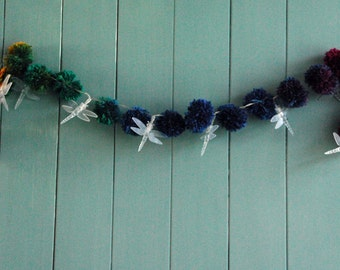 Garland String Lights - Dragonfly Lights With Pom Poms - LED String Lights - Battery Operated - LED Lights - House Warming Gift -