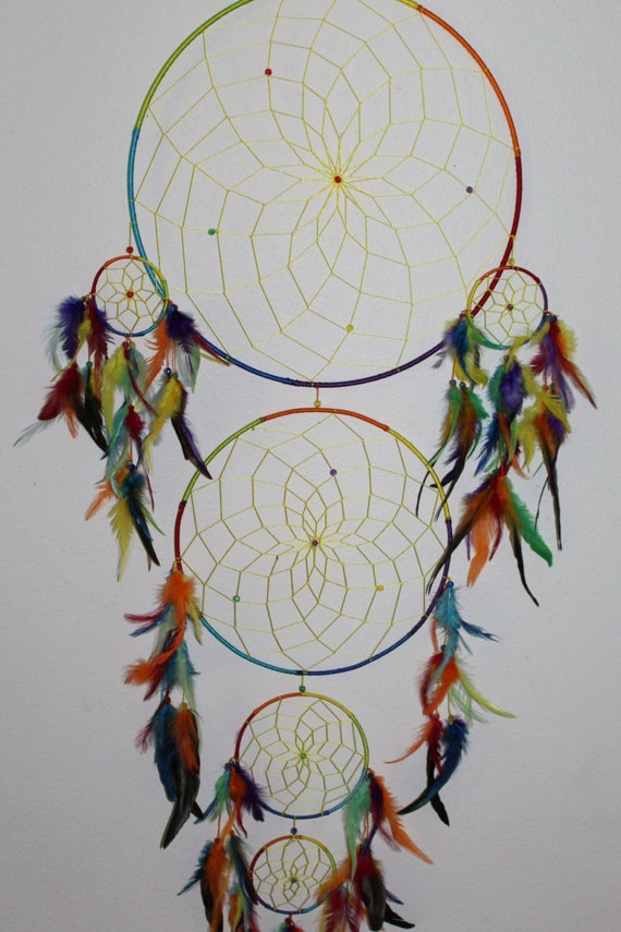 Extra extra large tie dye dream catcher for How to tie a dreamcatcher web