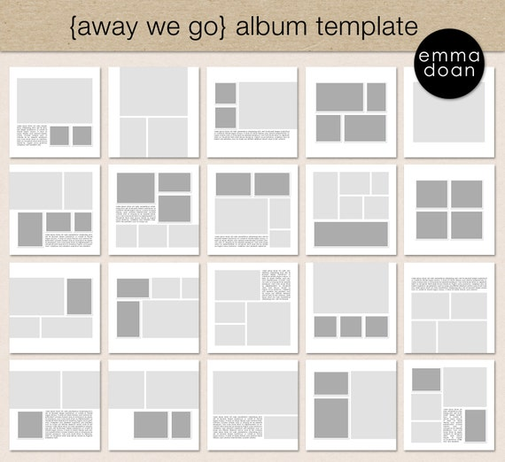 Photo Album Examples: Away We Go Album Template 12x12 Travel Album