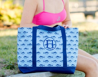 Personalized Navy Blue Shark Finn Tote Bag * Whale Fish Bags with Embroidered Monogram or Name * Gift