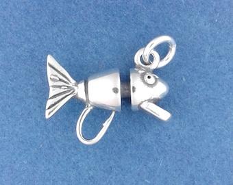 FISHING LURE Charm .925 Sterling Silver, Fish Hook, Fisherman Bait Pendant - d44169