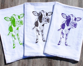 Hand Tea Towels - Set of 3 - Screen Printed Cotton - Cow Tea Towel Design - Wedding Shower Gifts  - Housewarming Gifts