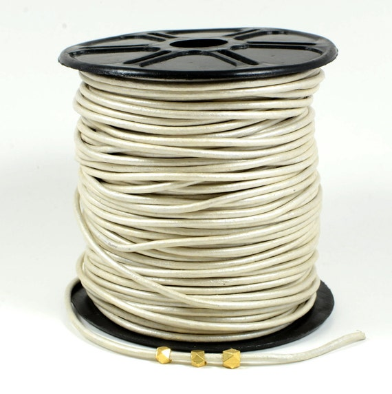 2mm leather cord in Metallic pearl, off-white leather cord, fine genuine leather cord - 1 yard/order