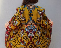 Bohemian Embroidered Coat, Damask Coat, Magical Clothing Embroidered Damask Tapestry, Mustard, Burgundy, Blue, US size 6/8 EU size 36/38
