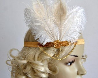 Deco Gold feather flapper Gatsby Headband, Wedding Crystal Headband, Wedding Headpiece Bridal Headpiece, 1920s Flapper headband Black Ivory