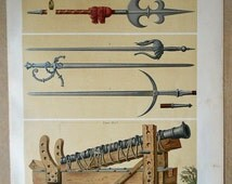 1879 Medieval Weapons of the thirteenth and fourteenth centuries. Authentic chromolithograph of nineteenth century
