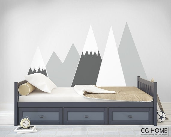 headboard MOUNTAIN view Wall DecalSnow mountain for kids big wall washable self adhesive sticker scandinavian pattern Nursery DecorCGhome