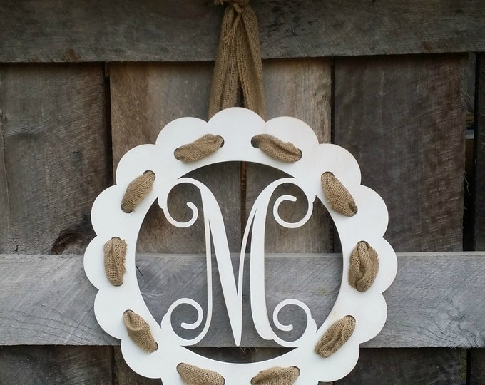 Painted Initial Door Hanger With Burlap Ribbon - Distressed Personalized Door Hanger - Wall Hanging - Housewarming Gift - Wedding Gift