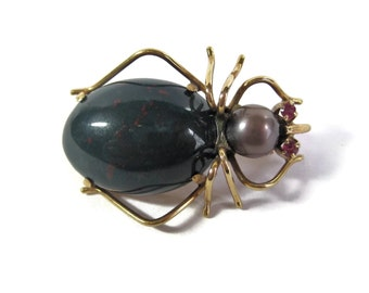 Vintage 14K Bloodstone Black Pearl Spider Brooch