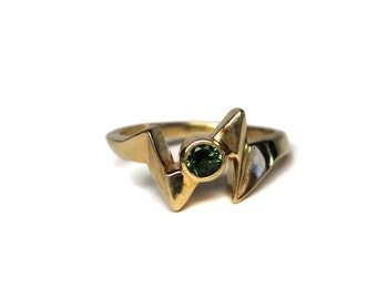 Vintage Handmade 14K Green Sapphire Ring Size 3.5 Pinky Midi Ring