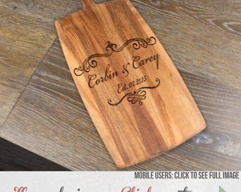 Wood Cheese Board Laser Etched In Your Choice Of Nine Designs