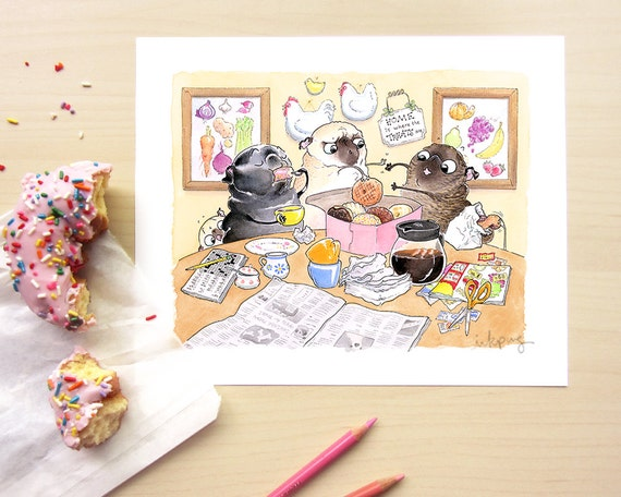 Items similar to sunday donuts pug art print pug kitchen for Kitchen decor items