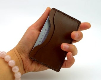 Business Card Case Leather, Slim Credit Card Holder, Brown Leather Case for Credit Cards and Business Cards, Handmade Italian Leather Case