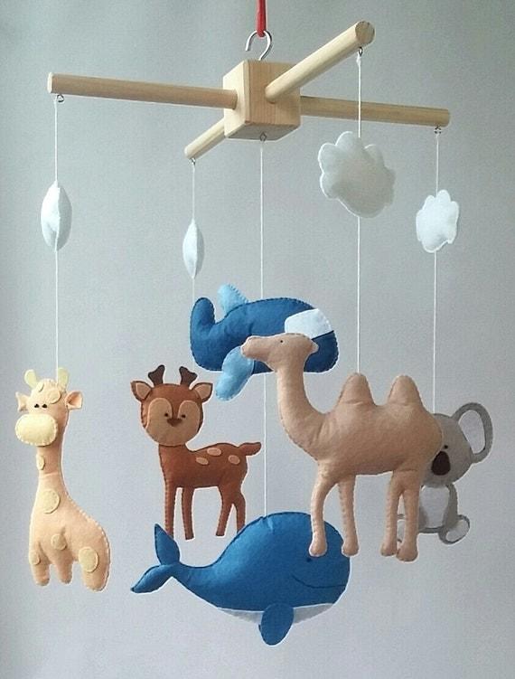 Crib Nursery Newborn Toys : Animals mobile cot baby crib nursery felt