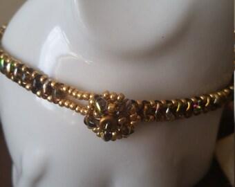 Gold, Brown, Multi Color, Thin, Bracelet, Elegant, Boho, Superduo, Beaded, Gift, Mother, Daughter, Sister, Birthday, Bohemian