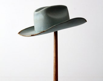 1950s Always on Top cowboy hat, vintage distressed blue western hat