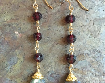 Garnet and labradorite gemstone gold dangle earrings