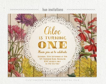ONE 1st birthday invitation for baby girl, gold glitter wildflowers floral woodgrain doily lace, customized printable digital invitation