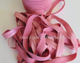 Mauve Pink Fold Over Elastic for Baby Headbands -  5 Yards of 5/8 inch FOE - Craft Embellishment Solid Color Rose Soft Elastic By The Yard