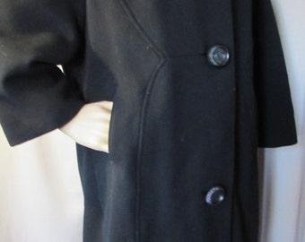 SALE! Winter Coat Mid Century Coat Black Winter Coat White Fur Collar Union Label Stevens Rockford