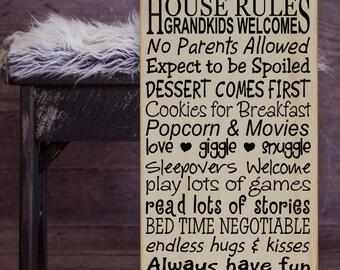 "Grandparents' House Rules Subway Art Vinyl Wooden Sign 12"" x 24"". grandparent signs,grandparent gift,personalized grandparent sign"