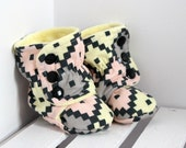 toddler daycare boots soft sole booties pink yellow grey charcoal minky child kid Canada clothes non slippery sole black