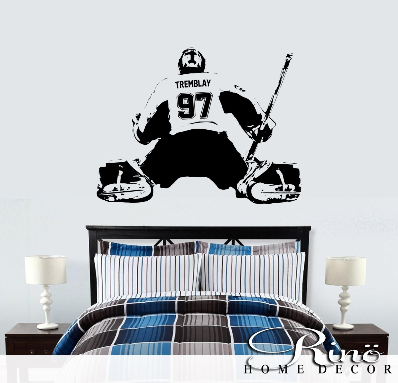 Wall Art Decals Custom : Hockey goalie decal wall art custom large player choose