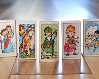 Boys' Favorites 5 saint blocks - Catholic Saints George, Sebastian, Christopher, Michael, and Patrick