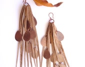 Long Repurposed Tan/Orange Leather Fringe Earrings with Copper Drop Charms (E22)