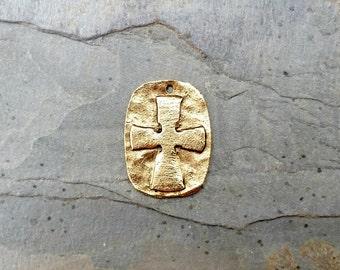 Medium Hammered Gold Cross Relief Pendant Oval Pewter Rustic C139,medium gold cross,cross relief pendant,cross dog tag,hammered gold cross