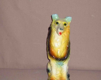 Vintage Carnival Chalkware Collie Dog Coin Bank,Never Used 1935-1945