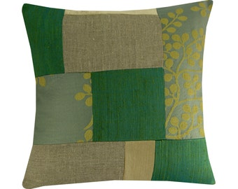 "Rustic Patchwork Pillow Cover, Green and Beige Cushion 14x14"" SALE"