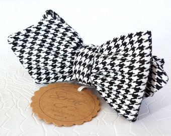 Houndstooth bow tie, diamond point bow tie, mens bow tie, black and white bow tie, self tie bow tie, gift for him her, groom bow tie