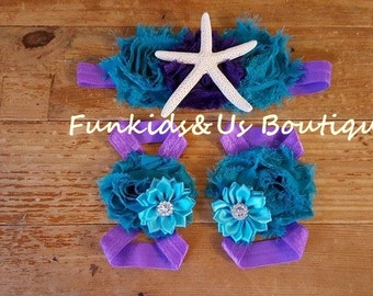 Mermaid Baby Barefoot Sandals Headband Set - Purple Teal Turquoise Under the Sea Photo Props