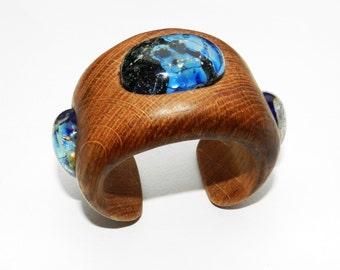 Wooden bracelet with lampwork, Wooden bangle, Handcarved Bracelet.